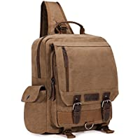 Plambag Canvas Sling Backpack One Strap Travel Sport Crossbody Bag Large