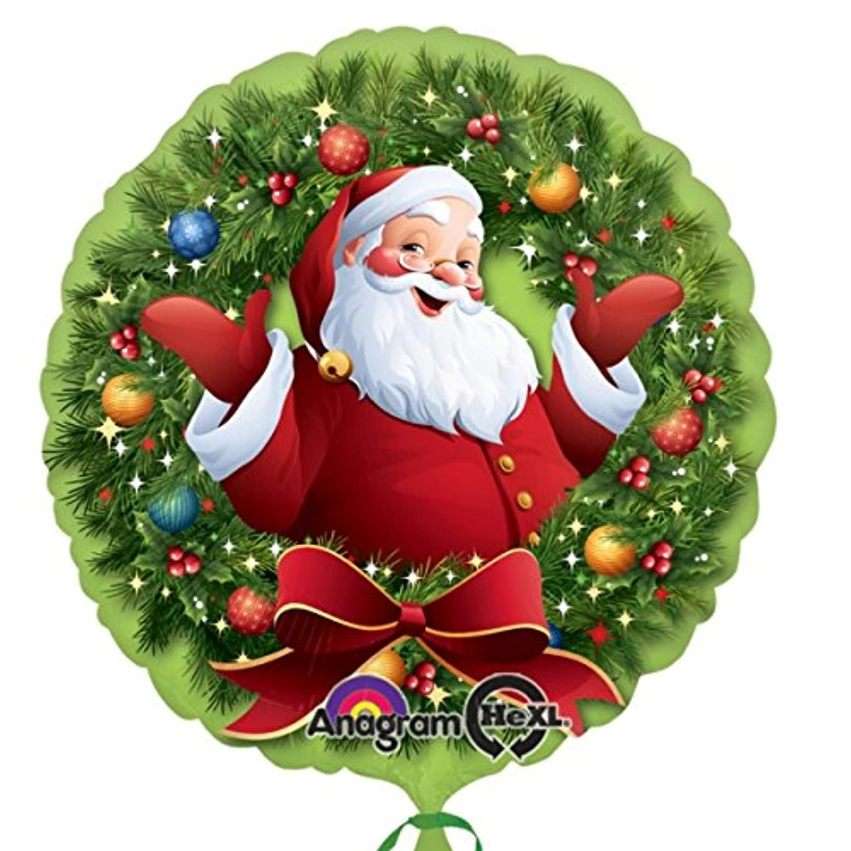 Anagram Jolly Santa in Wreath 18インチクリスマスホイルバルーン