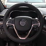 16sixteen Luxury Hand裁縫滑り止めプレミアムNappaレザーステッチon Car Steering Wheel Cover for Jeepグランドチェロキー、ブラックカバー、9色スレッド