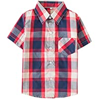 Kids Short Sleeves Button Down Plaid Shirt Tops for Toddlers and Little Boys, Red Navy, Tag 150 for Age 8-9 Years