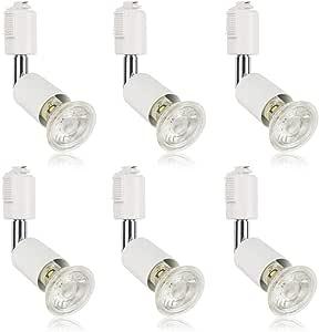ダクトレール用スポットライト E11 LED電球付き 50W ライティングバー用器具セット ライティングレール 天井照明 6個セット (電球色, ホワイト器具)