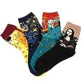 (コナミヤ) Konamiya レディースかわいい靴下名画模様 ソックス カラフルファッション靴下セット  4足セット