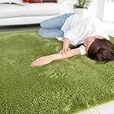 なかね家具 ふわふわ モダンシャギー ラグマット ホットカーペット対応 グリーン 190×240 223roshe
