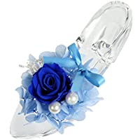 TEATSIGHT プリザーブドフラワー ガラス製 ハイヒール ガラスの靴 (バラ あじさい ブルー)