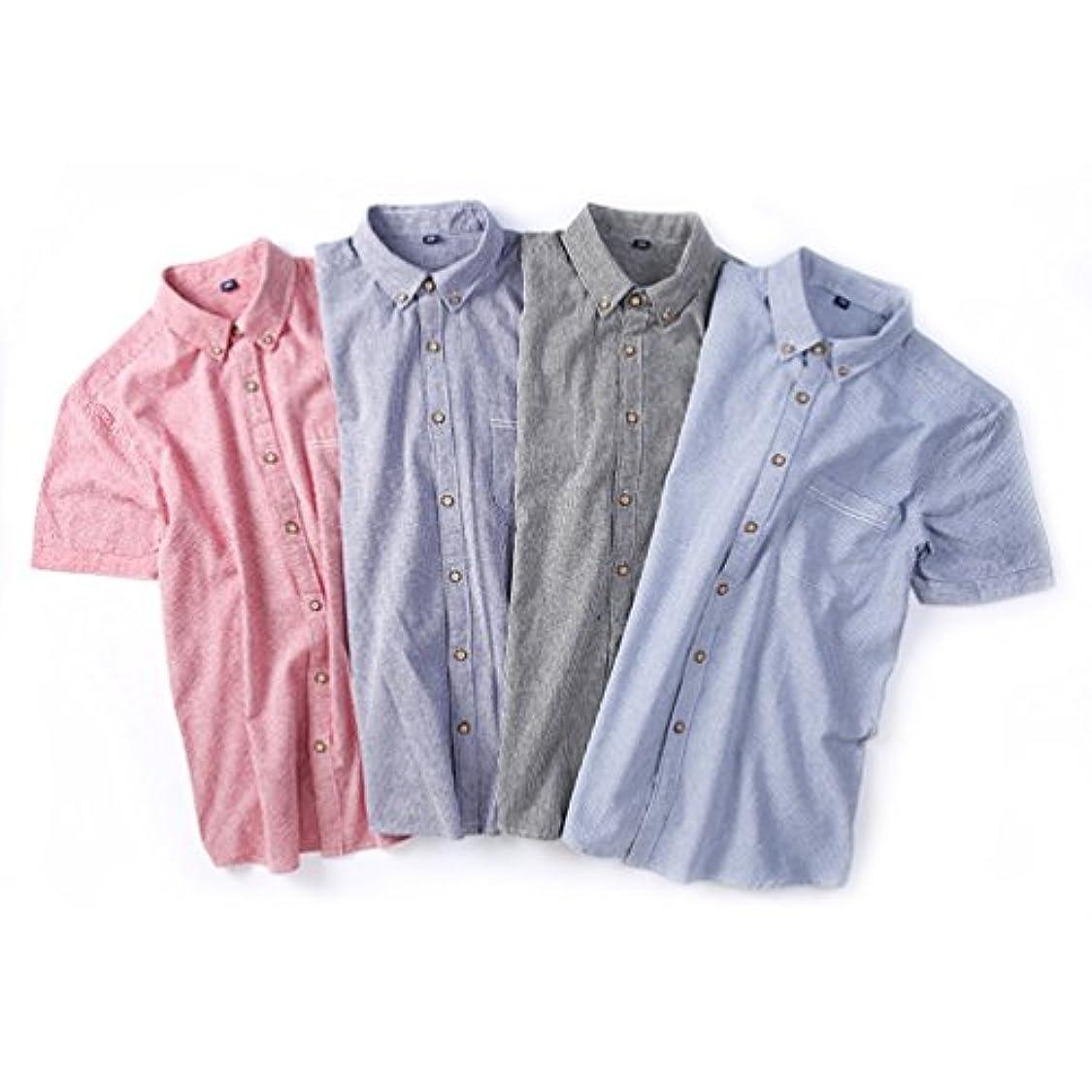 戸惑う胚発火する半袖 メンズ ワイシャツ ストライプ シンプル リゾート カジュアル 開襟 かっこいい スリム フィット カジュアル ファッション コットン カットソー アメカジ 春夏 大きいサイズ 全4色
