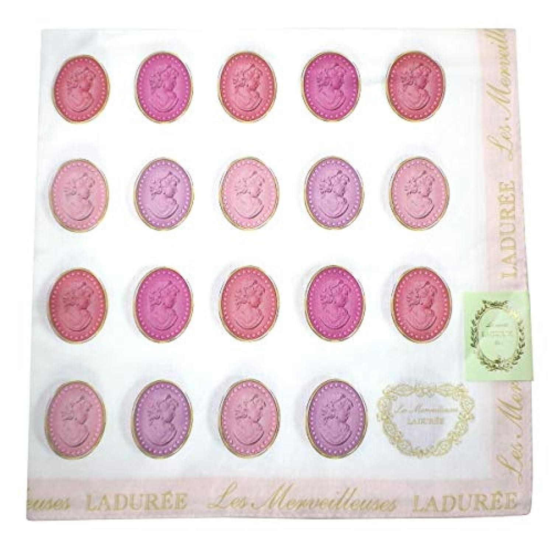 (レ?メルヴェイユーズ ラデュレ) Les Merveilleuses LADUREE ラデュレ ハンカチ ハンカチチーフ 大判 桃 ピンク 白 ホワイト 横顔 ロゴ