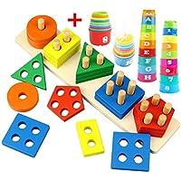 木製スタッキングおもちゃセット 形状 カラー分類スタッキング ネスティングブロックボード レインボー 積み重ねカップ 認識 幾何学的 早期教育学習パズル バスタブとビーチ おもちゃ 赤ちゃん 幼児