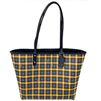 Coach Gingham Printed Coated Canvas and Smooth Leather Reversible City Tote Bag