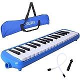 CAHAYA 鍵盤ハーモニカ 32鍵 メロディーピアノ 立奏用唄口 卓奏用パイプ セット ブルー