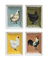 クリエイティブCo - Op 4X 3-inch Textured Trinketプレートwith Chickens、4のセット