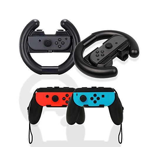 iniko ジョイコン ハンドル 4点セット Nintendo Switch マリオカート8 デラックス 対応 joy-con 改良モデル (ブラック)