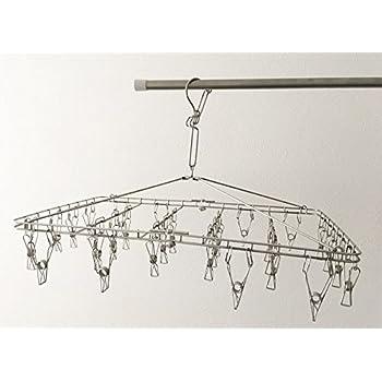 無印良品 オールステンレス角型ハンガー・大 約56.5×35.5cm・ピンチ28個付