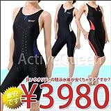 【Yingfa】レディース ワンピース競泳水着 5L ブラック/レッド