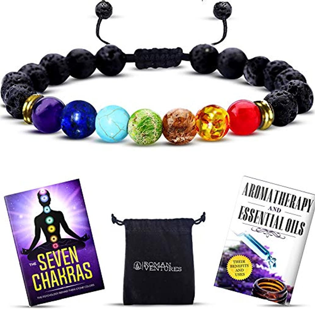 やがて幻滅広範囲Essential Oil Diffuser bracelet- 7チャクラLava Stone bracelet-アロマセラピーChakra bracelet- Just Add Oil to Lava Stones