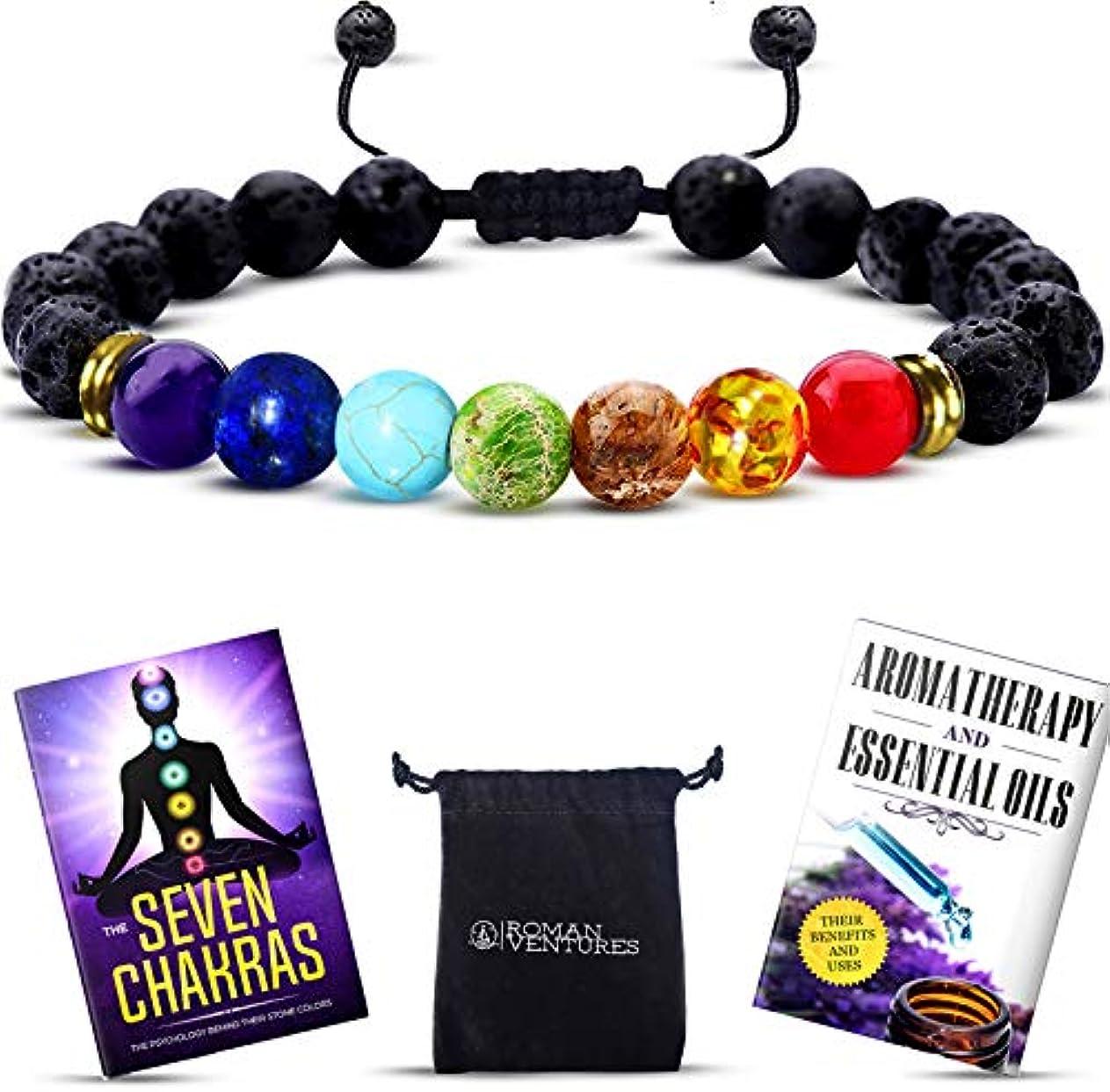 欲望放射する避けるEssential Oil Diffuser bracelet- 7チャクラLava Stone bracelet-アロマセラピーChakra bracelet- Just Add Oil to Lava Stones