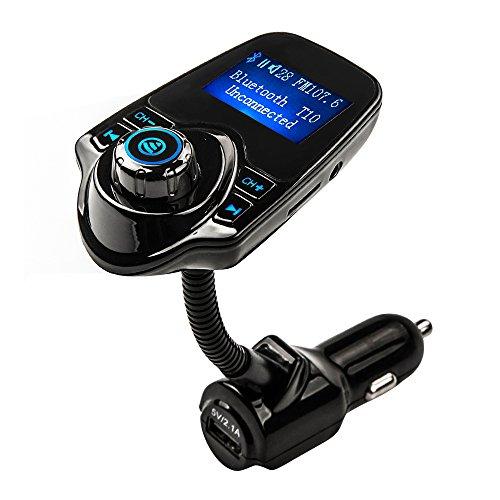 Sunvito車用FMBluetoothトランスミッター機 USB充電機能搭載 ハンズフリー通話AUX入力/出力 TF機能 電池電圧検出機能Windows, iOS, Androidスマートフォンに対応 (A01)