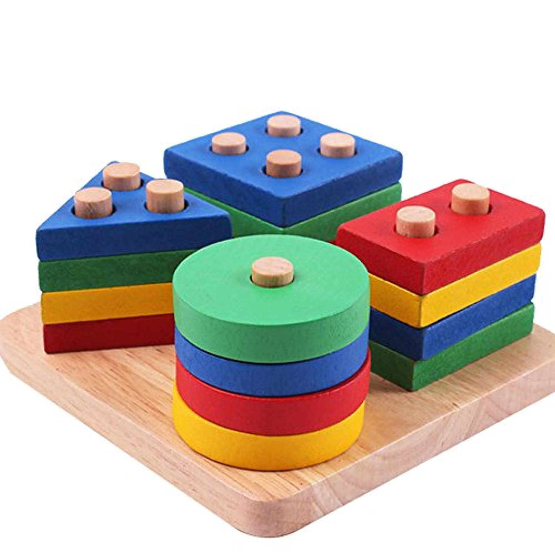 積み木 形合わせ 棒さし 型はめ おもちゃ 木製玩具 立体パズル カラフル ビルディング ブロック 四本の棒さし 円柱さし 三角形 四角 ブロック ウッド製  赤ちゃん ベビー キッズ 子供 マッチング はめこみ 幾何認知 図形認知 パズル お誕生日 ギフト  幼児用 出産祝い 知育玩具 1歳/2歳/3歳