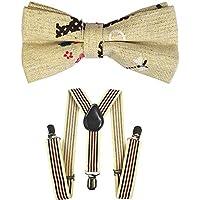 Kids Suspenders And Bow Tie Set Adjustable Suspender Bowtie Necktie Sets Boys And Girls (Khaki Black Red Striped + Khaki Bowtie)