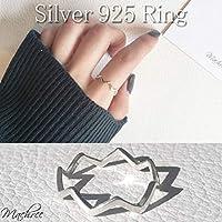 [Machree] レディース シルバーリング ウェーブ ギザギザ ライン 指輪 デザイン 重ね着け シルバー 925 11号