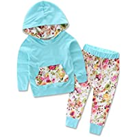 Zoe's wardrobe Baby Girls Floral Hoodie+ Floral Pant Set Leggings 2 Piece Outfits (12-18Months, Blue)