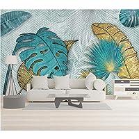 Hershop カスタム北欧手描き線熱帯の葉の寝室の背景壁紙壁画-400X280CM