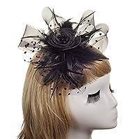 ターバンキャップ 魅惑的な帽子女性のティーパーティーヘッドバンドケンタッキーダービーのウェディングカクテルフラワーメッシュの羽のヘアピンの花嫁 多用途の頭飾り