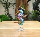 手作り手吹きガラスのタツノオトシゴ ガラス細工 ガラスの置物  ガラス ミニチュア 動物の置物 家の装飾 室内装飾 - Glass Sea Horse