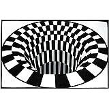 Indoor Modern Area Rugs, 3D Swirl Print Optical Illusion Rug Carpet Floor Pad Non-Slip Doormat Mats Home Bedroom