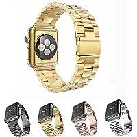 MEET RADE For Apple Watch バンド 高級ステンレスベルド アップルウォッチ 交換バンド New apple watch series1/2/3対応 ステンレス 留め金製 金属 Apple Watch に専用 ビジネス風 時計 バンド 腕時計ストラップ (38MM, 金)