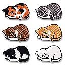 LEUYUAN アイロン刺繍ワッペン 6枚セット 眠っている猫 アップリケワッペン 補修 DIY可愛い装飾 パッチ低炭素生活