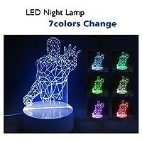 BAB 3Dビジュアル Led Night Lights 3D LEDナイトライト 7色変更 赤ちゃん 子供向け 睡眠ナイトライト USB給電 節電 24鍵リモートコントロール付き カッコイ 誕生日/祝日/クリスマス プレゼント (アイアンマン1)