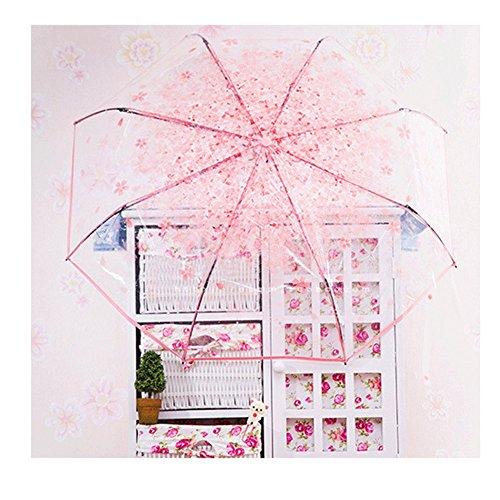 KicthennyLife 超軽量 透明な桜柄傘 日傘 レディース傘 晴雨兼用傘 萌える可愛い傘 美しい桜 女性?レディース用 折り畳み傘 持ち運び携帯用傘 (ピンク)