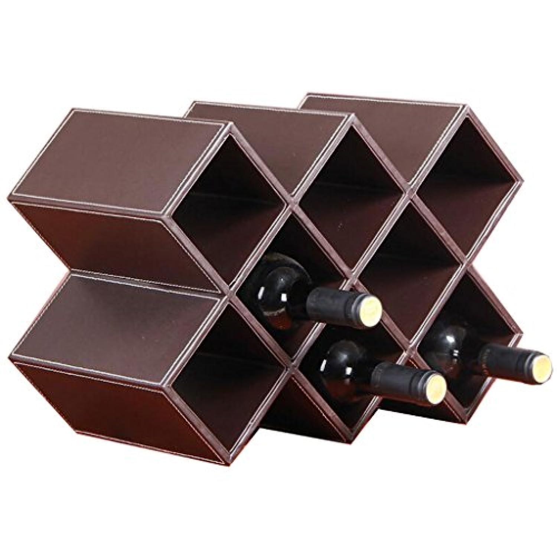 Mobeka ワインストレージラックバーレストラン現代的なジオメトリック独立した合成皮革ワインラック8ボトルストレージオーガナイザー、ブラウン (色 : Brown, サイズ さいず : M)