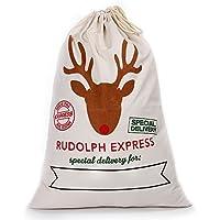 Littlegrassjp クリスマス 飾り ギフトバッグ  プレゼント 袋 バッグ 収納バッグ 麻 洗濯物かご まるで2番目のギフト 耐久性、自然な素材で環境に優しい (ホワイト express)