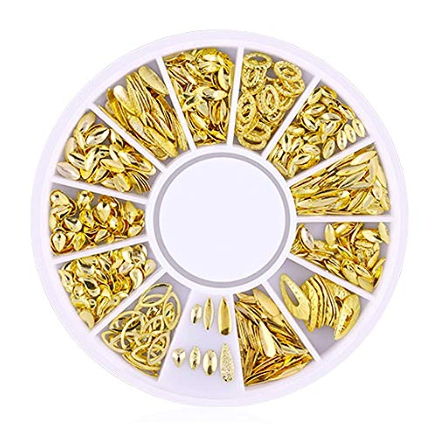 ギターさせるSnner 3D ネイルパーツ メタル ゴールド ハート 星 月 花 蝶結び 幾何風 12種形 ネイルデコレーション 円型ケース入リ ピンクケース 200点セット (幾何風2)