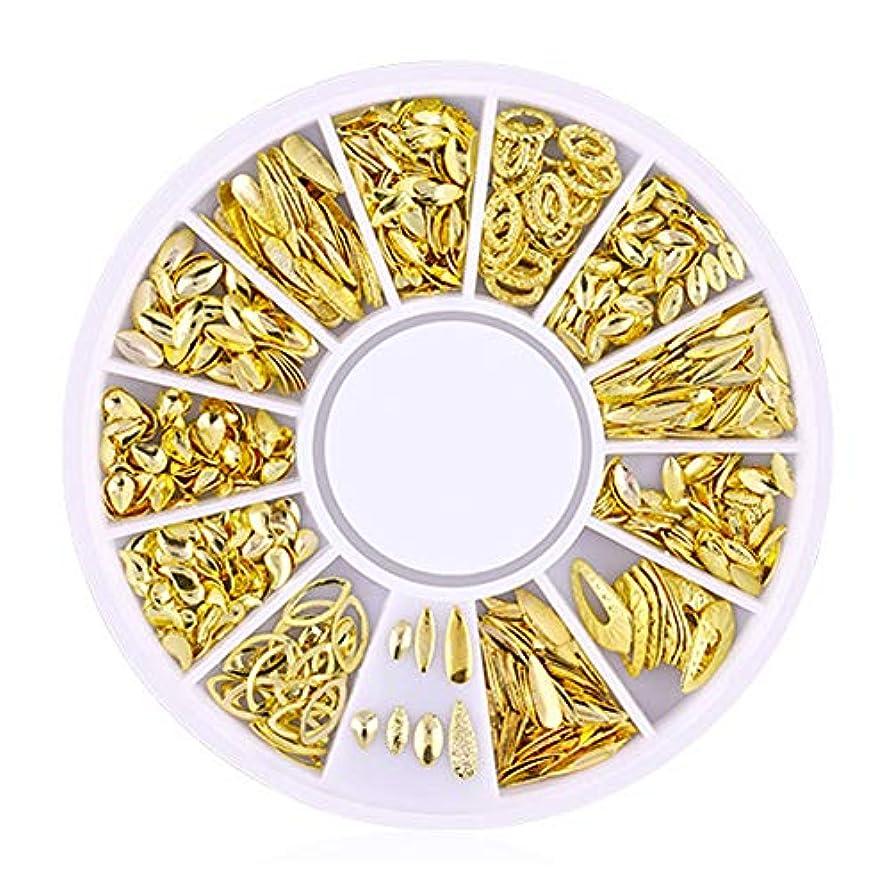 スイング怖がらせるスキルSnner 3D ネイルパーツ メタル ゴールド ハート 星 月 花 蝶結び 幾何風 12種形 ネイルデコレーション 円型ケース入リ ピンクケース 200点セット (幾何風2)