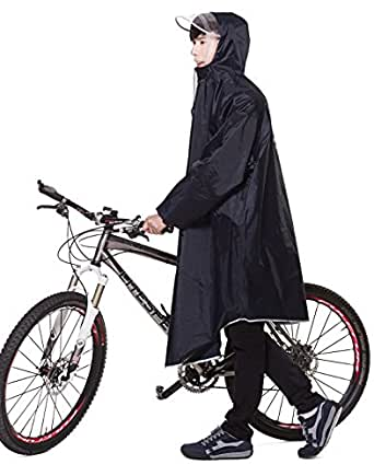 レインコート EocuSun 自転車 バイク ロングポンチョ 雨具 通勤 通学 フリーサイズ 男女兼用 (紺色)