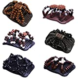 IPOTCH 6Pcs Wood Beads Stretch Double Hair Comb Jewelry Hairgrip Hair Clip Hair Accessories Wedding Updo Hair Accessiories