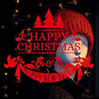 Xbwy ハッピークリスマス新年あけましておめでとうございますアートウォールステッカーお祝い雰囲気Diyウィンドウ装飾ステッカーPvc壁紙58×49センチ