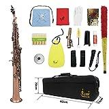 ammoon 13点セット ストレート Bbソプラノサックス サックス 彫刻入り初心者入門セット木管楽器