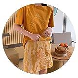 mikkopジャカードスカートステッチサテンハイウエストスカート夏2019,オレンジ色,S