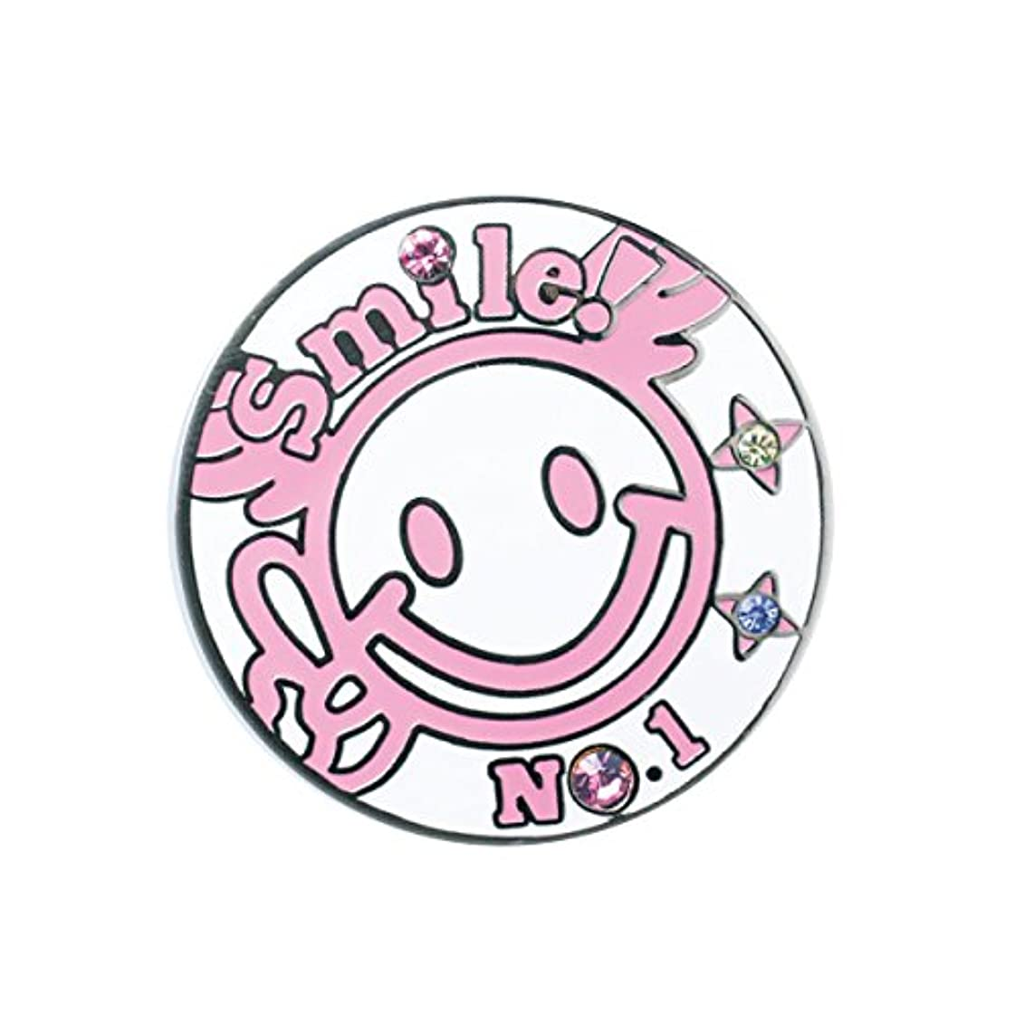 櫛不変器用WINWIN STYLE(ウィンウィンスタイル) メガマーカー SMILE No.1 SMILE No.1 MM-309 ユニセックス MM-309 ピンク デザイン:型打ち製法(七宝仕上げ)/クリスタルストーン入り