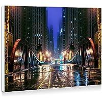 シカゴ、イリノイ州、アメリカ、都市、橋、道路、ライト、高層ビル、建物、夜 - 壁の絵 壁掛け ソファの背景絵画 壁アート写真の装飾画の壁画 - (40cmx30cm)