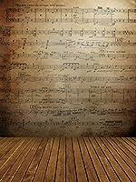 ブラウン音楽ノート壁背景for Photo Studio木製床ヴィンテージ学校ステージ写真ブースデジタルバックドロップ1847