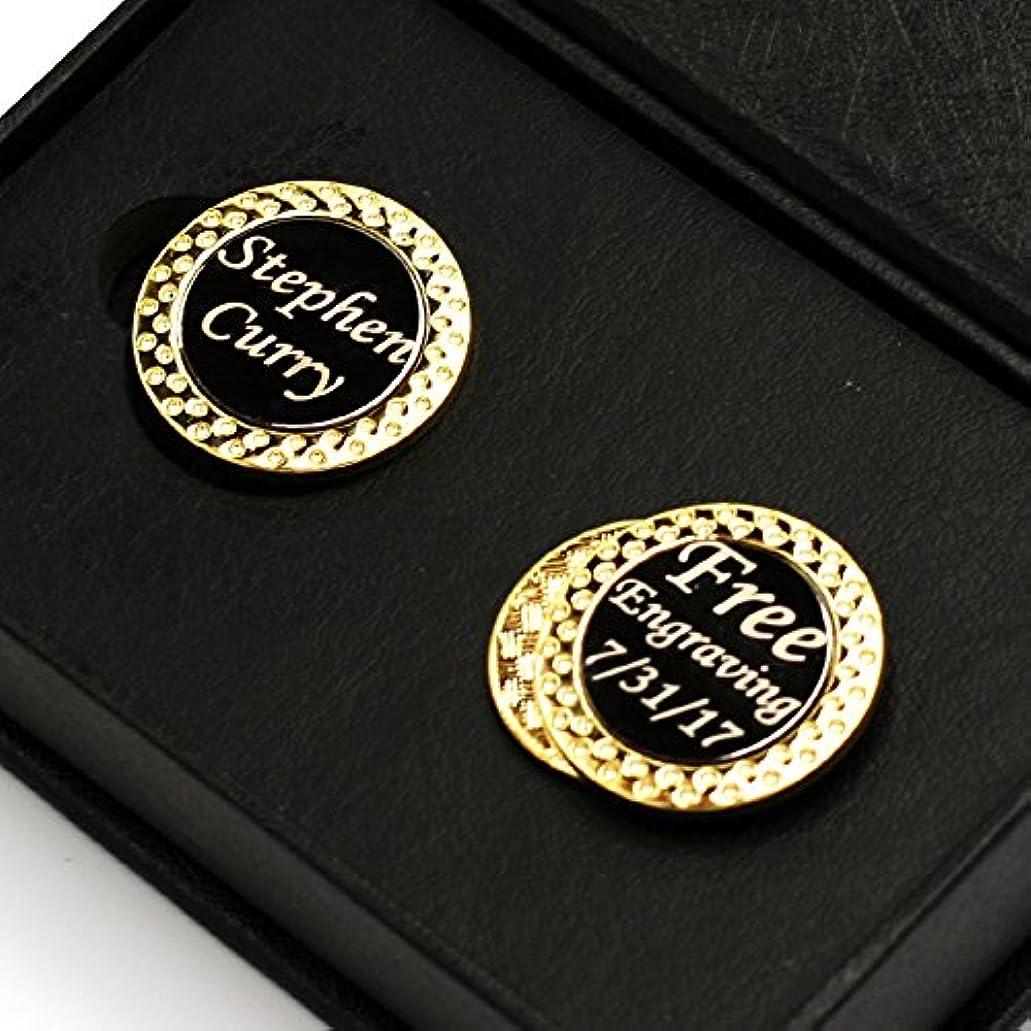 花瓶概念貢献するFree Engraving – ゴールド2ゴルフボールマーカーのセット磁気でゴルフ帽子クリップ、プレミアムゴルフギフトforメンズbyレディース、フリーカスタマイズ
