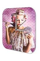 "wall clock Retro Motif Makeup mirror printed acryl plexiglass 10x10"""