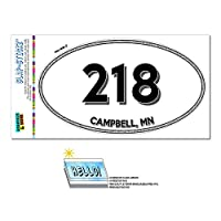 218 - キャンベル, MN - ミネソタ州 - 楕円形市外局番ステッカー