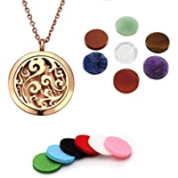 PiercingJ 15pcs 316L Surgical Stainless Steel Aromatherapy Essential Oil Diffuser Felt Pads Necklace Chain Locket Pendant with 7 Healing Chakra + Gift Box