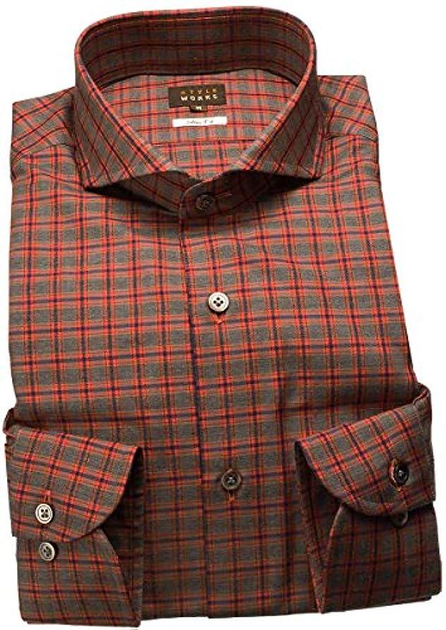 ステーキロマンチック惨めなRSD634-003-0106-LL (スタイルワークス) メンズ長袖ワイシャツ 赤カッタウェイ ワイドカラー チェック | 赤/LL