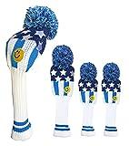 ブルーティーゴルフ BLUE TEE GOLF California 【USA フラッグ Ver,3 スマイル】 3本セット:A ニット ヘッドカバー (ブルー・ホワイト)